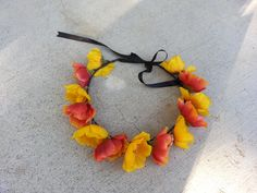Poppy Floral Headband/ Flower Crown. Coachella or by DevineBlooms
