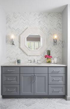 Tile behind vanity- Classic bathroom, Natalie Howe Design Grey Bathroom Vanity, Grey Bathrooms, Beautiful Bathrooms, Small Bathroom, Master Bathroom, Grey Bathroom Cabinets, Gray And White Bathroom, Gray Vanity, Shower Bathroom