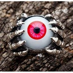 Just like a monster caught the all-seeing eye, you'll be able to catch the onlookers' eyes when rocking Sterling Silver Claw Red Eyeball Ring by Bikerringshop Silver Skull Ring, Gold And Silver Bracelets, Mens Silver Rings, Skull Rings, Gothic Rings, Gothic Jewelry, Boho Jewelry, Mens Jewellery, Jewelry Rings