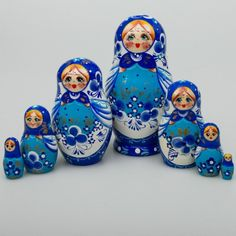 "Russian Matryoshka ""Forget Me not"" Nesting Doll Hand Painted 7 Pieces 