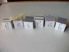 Wooden Name Block Set - Baby Girl - Gray Yellow Chevron. $4.00, via Etsy.