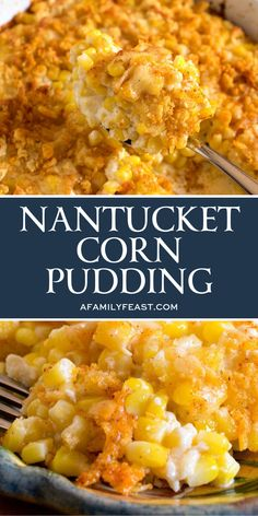- Nantucket Corn Pudding is a traditional recipe that was popular with the original colonial inhabitants of New England – and today, it's a classic side dish still served at many Thanksgiving dinners ar Nantucket, Vegetable Side Dishes, Vegetable Recipes, Chicken Side Dishes, Thanksgiving Side Dishes, Thanksgiving Dinners, Thanksgiving Turkey, Thanksgiving Recipes Corn, Savory Pumpkin Recipes