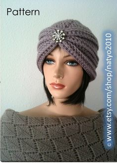 INSTANT DOWNLOAD Turban Style Rhinestone Beanie by NatalieSpot