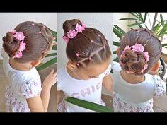 Penteado Infantil fácil com ligas e coque - YouTube