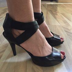 Black strappy heels Sz 8 Sexy platform heels.  Worn twice 4 inch heel.  Excellent condition.  NO TRADES Moda International Shoes Platforms