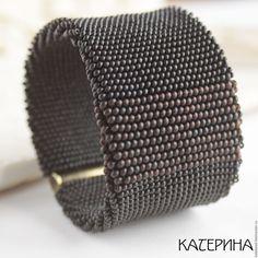Купить браслет «Черный кофе» широкий браслет, бисерный жгут - черный, черный браслет