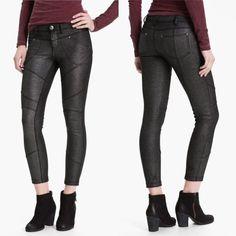 Free People Black Shimmer Moto Pants Free people black shimmer Moto pants Free People Pants Skinny