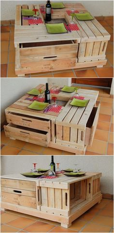 This is a highly chic and industrial style of the wood pallet table for you. This table is low in terms of the heights designing that is giving out the whole table with the finest impressive touch. The most amazing feature of this wood pallet table is its storage drawers that is making it additional functional to use.