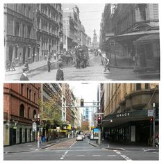 York and Kings Streets, looking south, c1910 and 2015 [1910 > Sam Hood/State Library NSW - 2015 > Allan Hawley. By Allan Hawley]