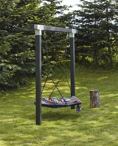 Kinderschaukel Cubic l Holzschaukel l Doppelschaukel l Nestschaukel l Schwarz - diy garden decor kids Backyard Swings, Backyard Playground, Backyard For Kids, Backyard Patio, Backyard Landscaping, Landscaping Ideas, Playground Ideas, Inexpensive Landscaping, Simple Backyard Ideas