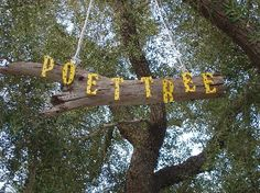 Tree Display: The letters P O E T - T R E E mounted on a piece of driftwood representing the Journey of Life. Wind chimes hung from the tree to encourage young poets to share the song in their hearts. ©2012 Steve Petersen Productions, Inc.