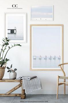 Minimalist coastal gallery wall in shades of blue and white Coastal Wall Decor, Beach Cottage Decor, Coastal Living, Coastal Country, Inspiration Wall, Living Room Art, Large Wall Art, Ocean Photography, Home Decor