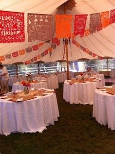 Customizable Mexican wedding banners called Papel Picado