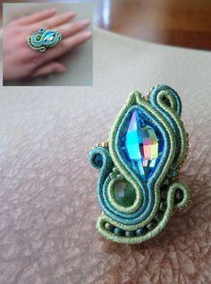 . Soutache Necklace, Tassel Earrings, Ring Earrings, Shibori, Beaded Embroidery, Boho Jewelry, Gemstone Rings, Turquoise, Jewels