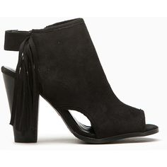 CiCiHot Black Faux Suede Fringe Cut Out Booties ($33) ❤ liked on Polyvore featuring shoes, boots, black side zip boots, black cutout boots, faux boots, chunky boots and faux-suede boots