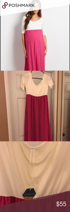 Pink Blush Magenta Chiffon Maternity Dress Never worn! I got it too late in pregnancy (where I was just in sweats 😂) beautiful layered chiffon on bottom and cotton on top. Size is medium. So cute! $55 OBO Pinkblush Dresses