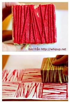 AGES modified per age DIY yarn block printing. Would be great combined with elements of art discussion in galleries. Cool Diy, Easy Diy, Fabric Painting, Diy Painting, Block Painting, Encaustic Painting, Diy And Crafts, Arts And Crafts, Wood Crafts