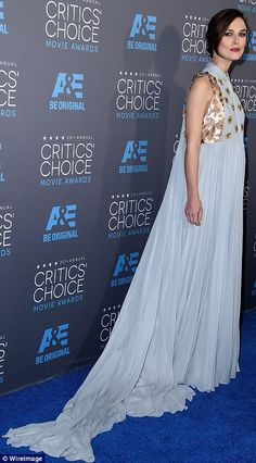 Baby blue: Pregnant Keira was ethereal in a greyish blue gown by DEPOLZO on Thursday night...
