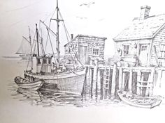 Jay Killian's signed, Pencil Drawing Print of Boats Docked in New England Harbor Fish Drawings, Pencil Drawings, Art Drawings, Adult Coloring Pages, Coloring Books, Nautical Drawing, Boat Sketch, Village Drawing, Boat Drawing