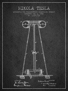 1914 Nikola Tesla Energy Apparatus Patent Print. #patentprints#patentart#patentartprints #agedpixel #tesla