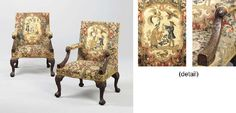 Consuelo Vanderbilt | A pair of George II Mahogany Library   Armchairs (c. 1755). Each rectangular back and seat covered in Georgian gros and petit point floral needlework, the back panel centered by a cartouche depicting a blue-coated tradesman and an oriental gentleman, with exotic birds and beasts. From the collection of Consuelo Vanderbilt Balsan. Sold at Christies NYC Sale 1220 / Lot 20 (9 Apr 2003) for $ 199,500.