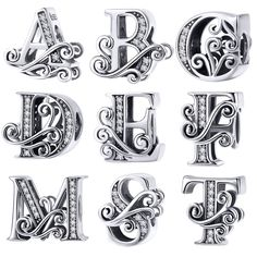 e4e86b590b US $4.99 30% OFF Aliexpress.com : Buy BISAER Hot Sale 925 Sterling Silver  Letter A To Z Alphabet Shape Beads Charms fit for Charm Bracelets Silver  925 ...