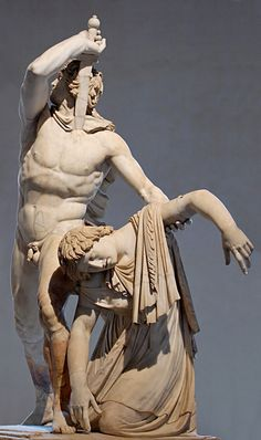 """POSTER - """"Galata Ludovisi"""" or """"Galata suicida"""" (Ludovisi Gaul Killing Himself and His Wife) is a Roman marble copy of the early 2nd century AD. Height 211 cm. The bronze original by the Hellenistic sculptor Epigonus was made in the period 230-220 BC. The original, together with the """"Galata morente"""" (Dying Gaul), was part of a triumphal monument in Pergamum, celebrating its victory over the Gauls of Galatia. – Museo Nazionale di Roma"""