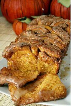 Cinnamon sugar pumpkin monkey bread with butter rum glaze. Whaaaat?