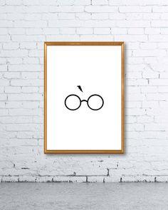 Harry Potter Glasses + Lightning Minimal Print - Wall Art, Home Decor, Minimalist Poster, Wall Art Print, Printable, Typography, Office