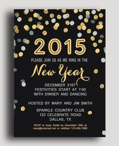 Shining Polka Dot New Years Eve Printable Invitation Card for 2015 - New Years Celetion, Card Design  #2015 #new #years #eve