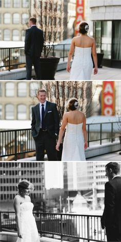 first look on a chicago rooftop. #wedding