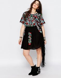 Image 4 ofAlice & You Folk Embroidered Skater Dress. If those are pockets then I am in!