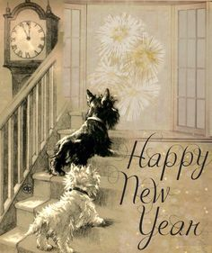 Vintage New Years Wish. made with Bazaart Happy New Year Baby, Vintage Happy New Year, Scottish New Year, New Year Pictures, New Year Wishes, West Highland Terrier, Vintage Dog, White Terrier, Nouvel An