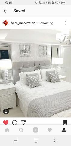 68 Ideas bedroom wall decor white guest rooms for 2019 Grey Bedroom Decor, Trendy Bedroom, Bedroom Colors, Master Bedrooms, White Bedroom Furniture Grey Walls, Design Bedroom, Grey Bedroom Wallpaper, Master Bedroom Grey, Silver And Grey Bedroom