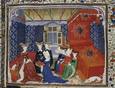 Harley 4431, f3. Christine de Pisan presenting her book to queen Isabeau of Bavaria. France, Central (Paris). Attributed to the Master of the Cité des Dames.