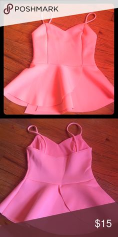 Neon coral Charlotte Russe peplum top Size small but removed tag because it was itchy! Only worn twice! Charlotte Russe Tops