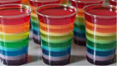 Rainbow jello-How to make vegan jello Rainbow Jello Shots, Rainbow Jelly, Rainbow Cupcakes, Rainbow Drinks, Spring Cupcakes, Rainbow Salad, Kids Rainbow, Rainbow Food, Rainbow Colors