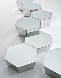 These hexagonal coffee tables from Gallotti  Radice reflect light like a gemstone // Basalto by Simone Cagnazzo