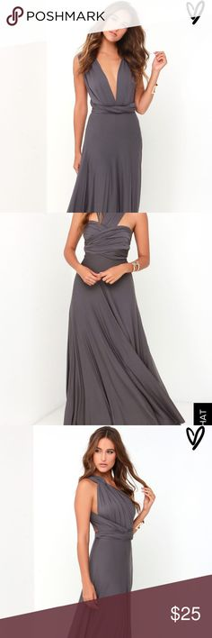 Lulus Multiway Maxi Dress - Small- Charcoal Grey soft, multiway, maxi, worn once Lulu's Dresses Maxi