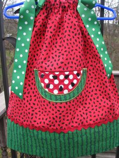 Watermelon Pillowcase Dress up to size 12 and 18 months only. $29.99, via Etsy.