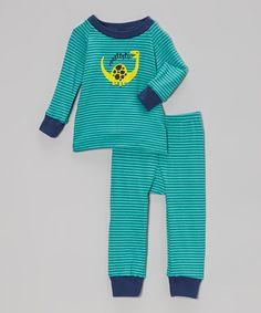 3e7ac02b8e Cat   Cow Blue   Teal Stripe Dinosaur Pajama Set - Infant