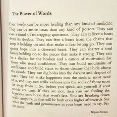 The Power of Words. A page from Mind Platter. How can you relate to this? Purchase your own copy from the link in my bio. Poem Quotes, True Quotes, Words Quotes, Wise Words, Motivational Quotes, Inspirational Quotes, Sayings, Qoutes, Motivational Thoughts