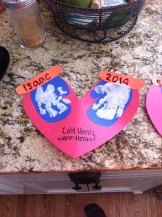 """""""Cold Hands, Warm Heart"""" craft #toddler #craft #kids #handprint #paint"""