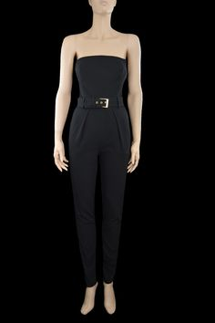 https://www.cityblis.com/9503/item/16700  JUMPSUIT IRENE - $1476 by Daniel Karaffa  -Slim fit jumpsuit  -Soft fitted bustier  -Belted front waist with a gold buckle  -Lace detail at the back  -Slash pockets at the front  -Single pleated  - Gold buttons at the back  - Bustier lined in red