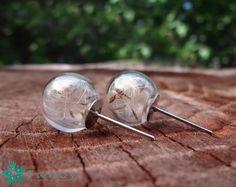 Botanical jewelry - real dandelion seeds earrings - make a wish jewelry - stud earrings - real flower jewelry - natural elements - glass orb earrings - terrarium jewelry