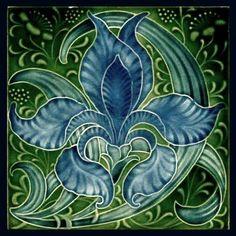 Items similar to - Gloss Ceramic or Glass Tile - Vintage Art Nouveau Reproduction Tile (Blue Iris) - Various Sizes. on Etsy Motifs Art Nouveau, Azulejos Art Nouveau, Design Art Nouveau, Art Vintage, Vintage Tile, Art Fractal, Jugendstil Design, Art Nouveau Tiles, Antique Tiles