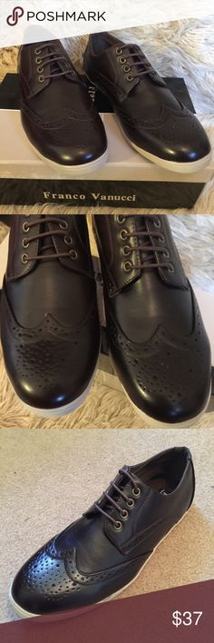 FRANCO VANUCCI Mens Casual Lace-Up Brogue Sneakers Brown FRANCO VANUCCI Mens Casual Lace-Up Brogue Sneakers, size 9.5.  Lace up casual shoes.  Faux leather.  Rubber outsole.  Insole is cushioned.  Bottom is flexible and has traction slip-resistance. Franco Vanucci Shoes Sneakers