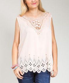 Loving this Peach Crochet Sleeveless Top - Plus on #zulily! #zulilyfinds
