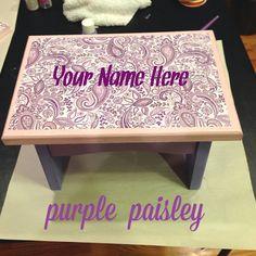 Purple Paisley Toddler Stool on Etsy, $40.00