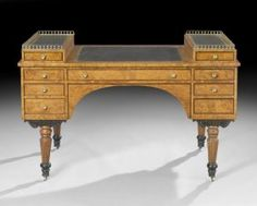 Biedermeier Burl Elm Desk, mid-19th century,